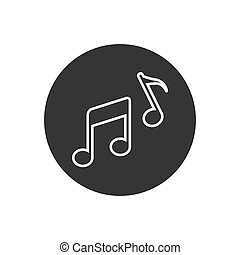 Music note line icon. Vector illustration in modern flat