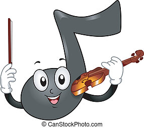 Music Note Mascot with Violin - Illustration of a Music Note...