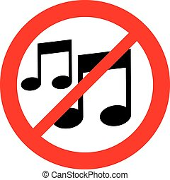 music note not allowed sign