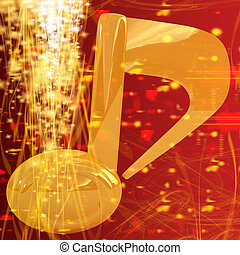 Music note on red fantasy background