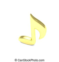 music note, on white. 3d rendering.