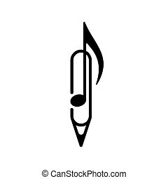 Music note, pen, paper clip, isolated vector illustration