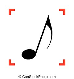 Music note sign. Black icon in focus corners on white background