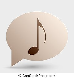Music note sign. Brown gradient icon on bubble with shadow.