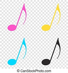 Music note sign. CMYK icons on transparent background. Cyan, mag