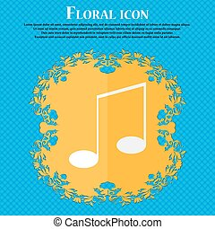 Music note sign icon. Musical symbol. Floral flat design on a blue abstract background with place for your text. Vector