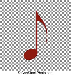 Music note sign. Maroon icon on transparent background.