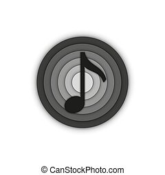 Music note sign musical round 3d logo, emblem of a recording studio black and white minimal style.