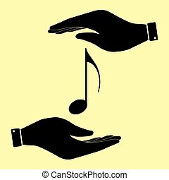 Save or protect symbol by hands. - Music note sign. Save or...