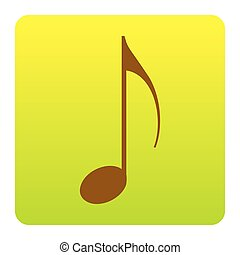 Music note sign. Vector. Brown icon at green-yellow gradient square with rounded corners on white background. Isolated.