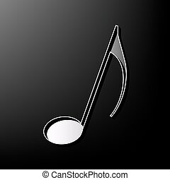 Music note sign. Vector. Gray 3d printed icon on black background.