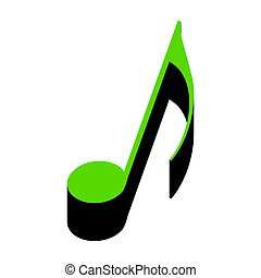 Music note sign. Vector. Green 3d icon with black side on white