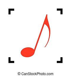 Music note sign. Vector. Red icon inside black focus corners on white background. Isolated.