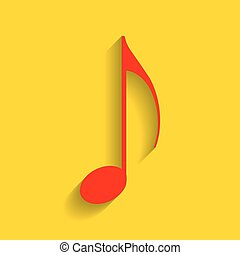 Music note sign. Vector. Red icon with soft shadow on golden background.