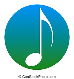Music note sign. Vector. White icon in bluish circle on white background. Isolated.