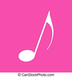 Music note sign. White icon at magenta background.