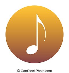 Music note sign. White icon in circle with golden gradient as ba
