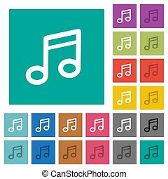 Music note square flat multi colored icons