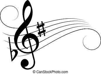 Music note staff vector cartoon