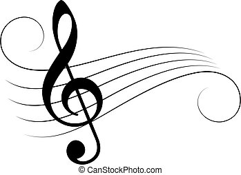 Music note staff vector illustration