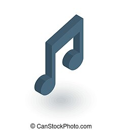 music note symbol isometric flat icon. 3d vector