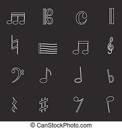 Isolated black music note outline icons set from white