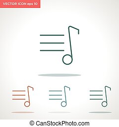 music note vector line icon isolated on white background