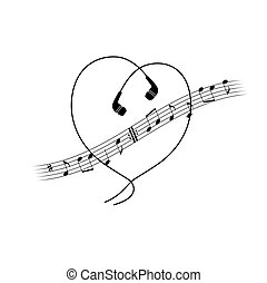 Music note wave with headphones in heart shape. Vector t-shirt or poster design.