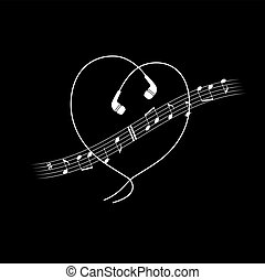 Music note wave with headphones in heart shape. Vector white on black t-shirt or poster design.