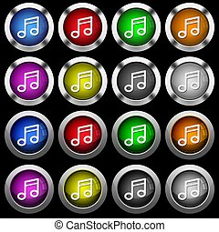 Music note white icons in round glossy buttons on black background