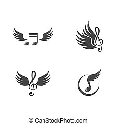 Music note wing logo vector