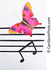 Music note with pink butterfly on white background.