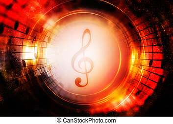 Music notes and clef in space with stars. abstract color background. Music concept. Copy space.
