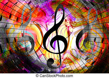 music notes and clef in space with stars. abstract color ...