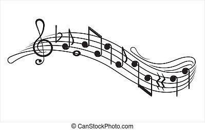 Music notes and g-clef on ? music staff, decorative element for your design.