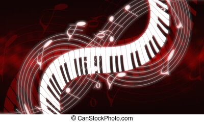 Music Notes and Keys Deep Red Hue Looping Animated...