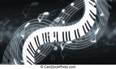 Music Notes and Keys Pale Blue Hue Looping Animated...