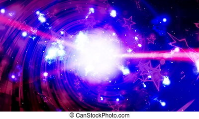Music notes and light beams VJ looping blue magenta red and white abstract animated background