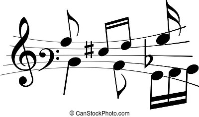 Music notes and melody vector icon