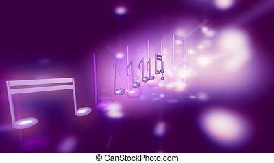 Music notes and purple flashes