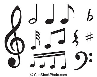 Music notes and signs - Different kind of music notes as...