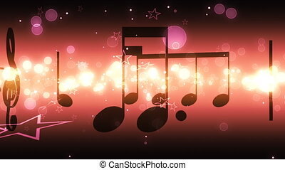 Music Notes and Stars Loop - Looping Music Animated...