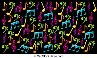 music notes animation - music notes with colors, Video...
