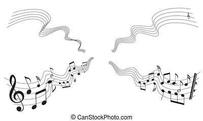 Music notes around - Music notes over white background