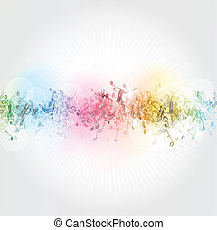 Music notes background - Abstract background with colourful...
