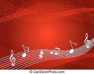 Music notes background - Music notes on red color...