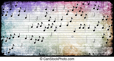 Music Notes Background with Abstract Musical Sheet