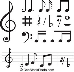 set of basic black notes and signs isolated on the white background