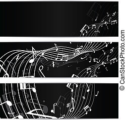 Music notes black banners