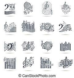 Music notes black icons set